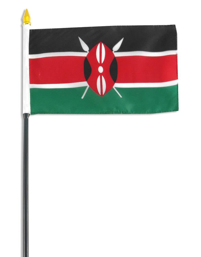 "Online Stores Stick Flag 4""x6"" - Kenya"