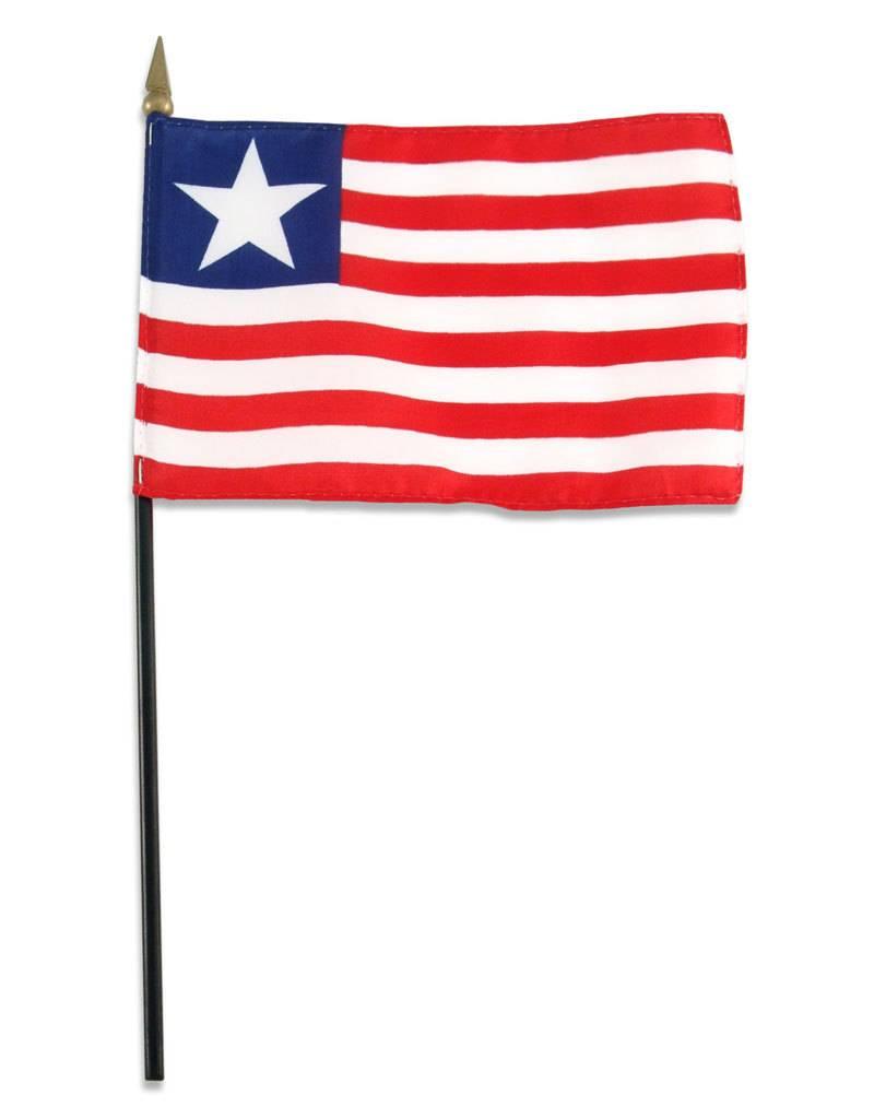 "Online Stores Stick Flag 4""x6"" - Liberia"