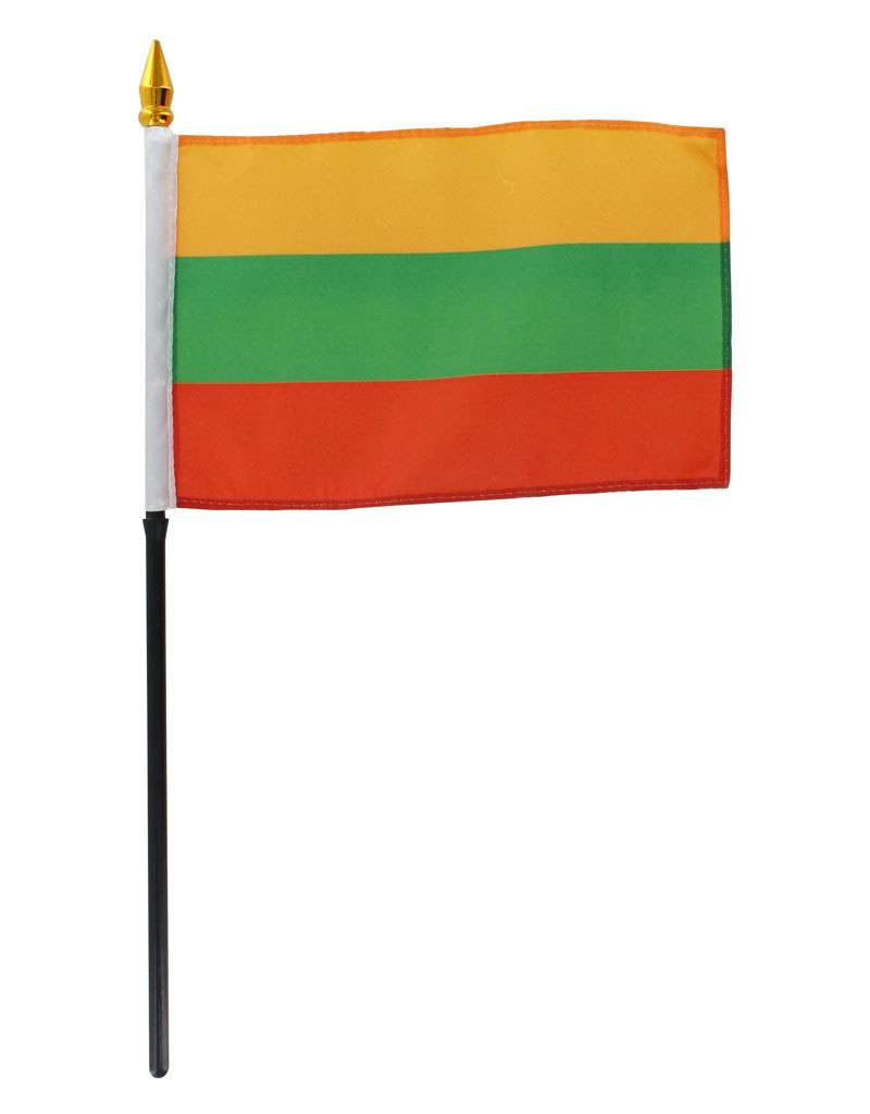 "Online Stores Stick Flag 4""x6"" - Lithuania"