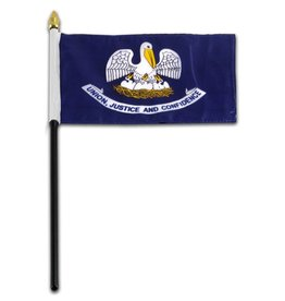 "Online Stores Stick Flag 4""x6"" - Louisiana"