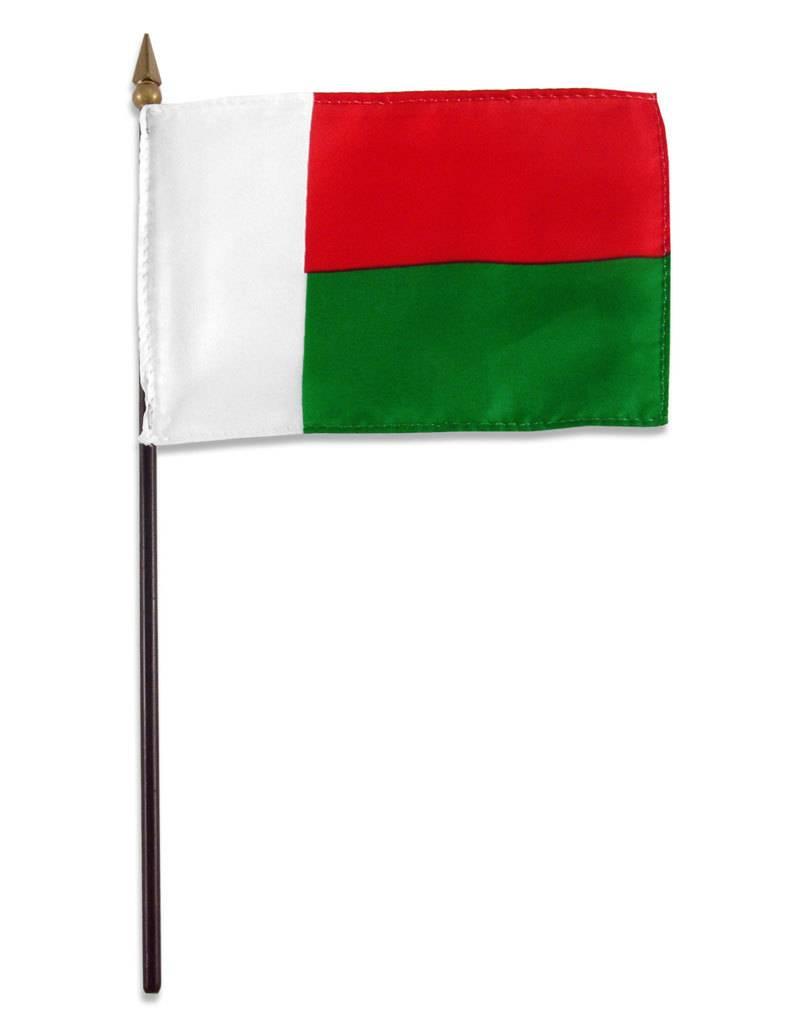 """Online Stores Stick Flag 4""""x6"""" - Madagascar"""