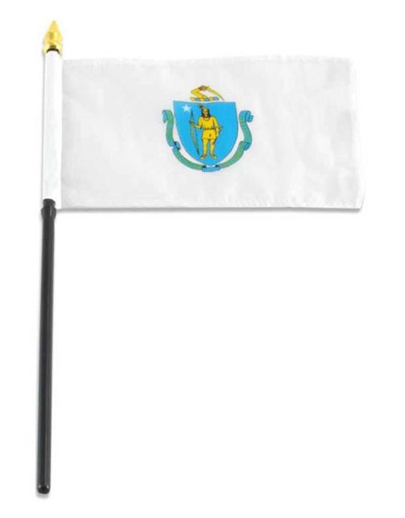 "Online Stores Stick Flag 4""x6"" - Massachusetts"