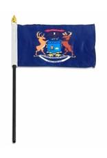 "Online Stores Stick Flag 4""x6"" - Michigan"