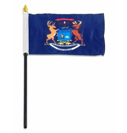 "Online Stores Stick Flag 4""x6"" - Michigan"