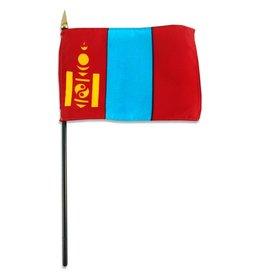 "Online Stores Stick Flag 4""x6"" - Mongolia"