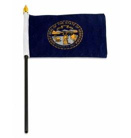 "Online Stores Stick Flag 4""x6"" - Nebraska"
