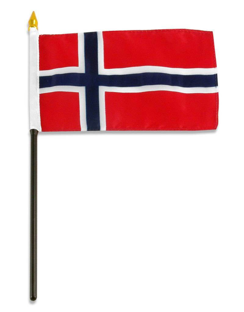 "Online Stores Stick Flag 4""x6"" - Norway"