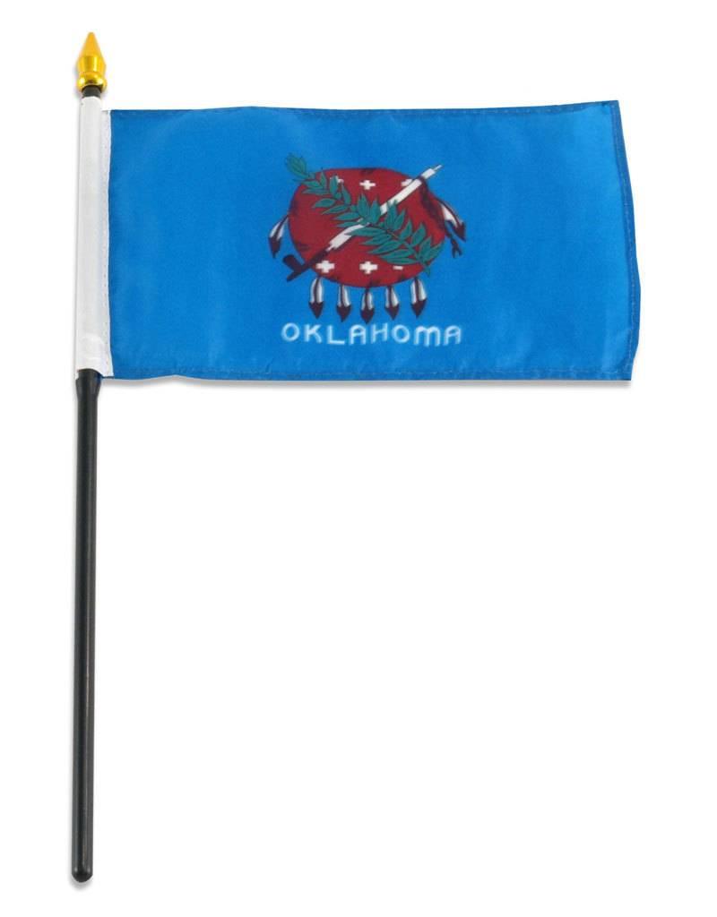 """Online Stores Stick Flag 4""""x6"""" - Oklahoma"""