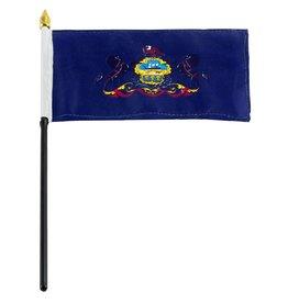 "Popcorn Tree Stick Flag 4""x6"" - Pennsylvania"