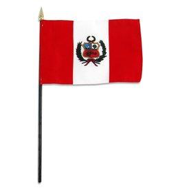 "Online Stores Stick Flag 4""x6"" - Peru"