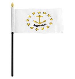 """Online Stores Stick Flag 4""""x6"""" - Rhode Island"""
