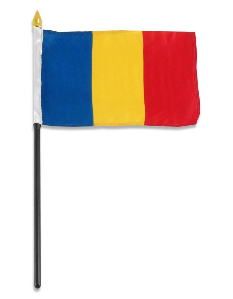"Online Stores Stick Flag 4""x6"" - Romania"
