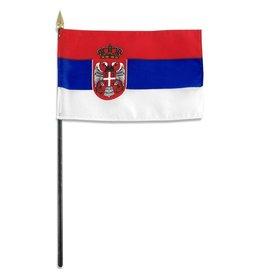 """Popcorn Tree Stick Flag 4""""x6"""" - Serbia"""