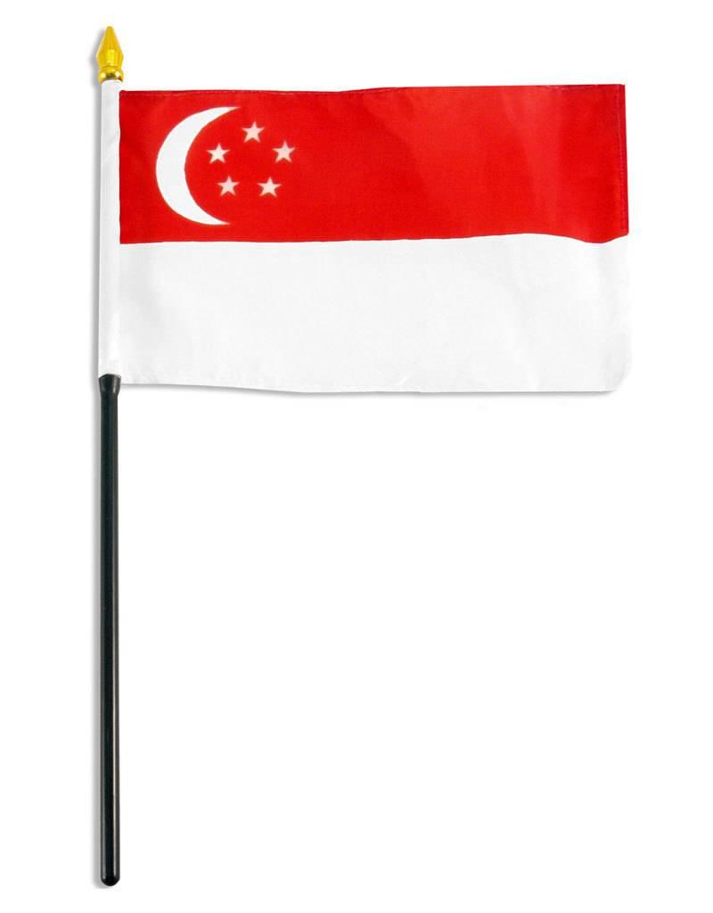 "Online Stores Stick Flag 4""x6"" - Singapore"
