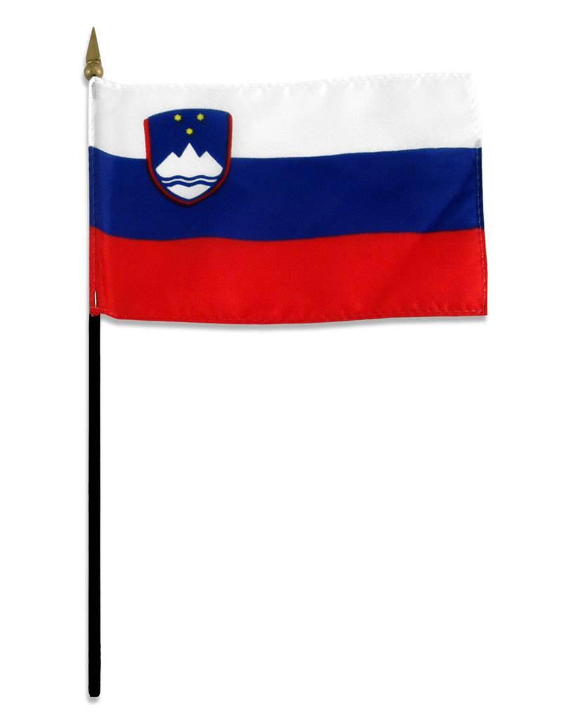 "Online Stores Stick Flag 4""x6"" - Slovenia"