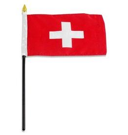 """Online Stores Stick Flag 4""""x6"""" - Switzerland"""