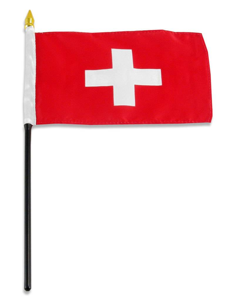 "Online Stores Stick Flag 4""x6"" - Switzerland"
