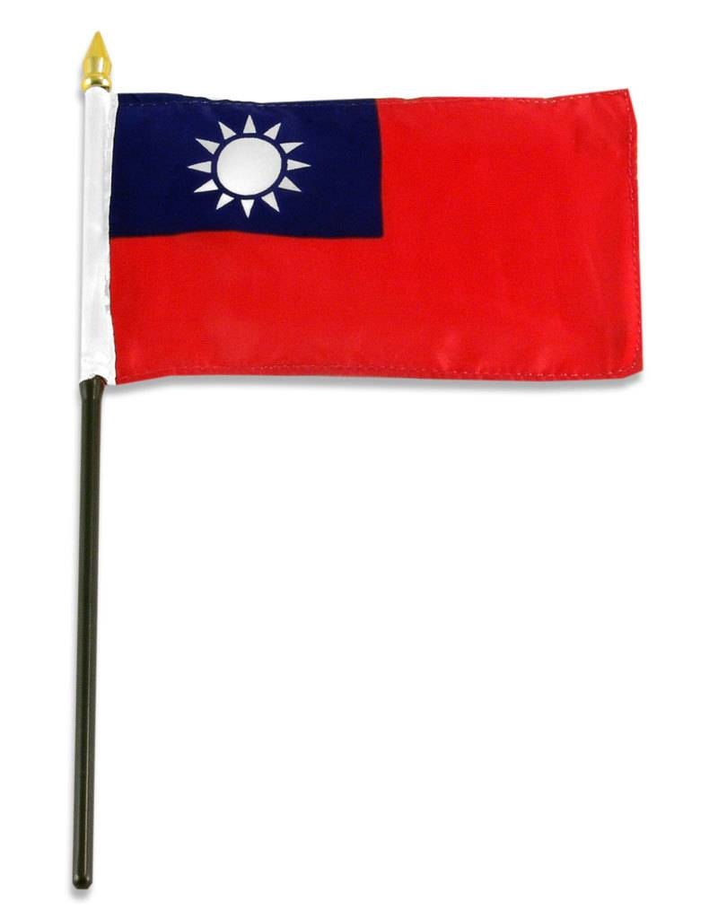 "Online Stores Stick Flag 4""x6"" - Taiwan"