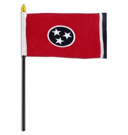 """Online Stores Stick Flag 4""""x6"""" - Tennessee"""