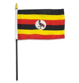 "Popcorn Tree Stick Flag 4""x6"" - Uganda"