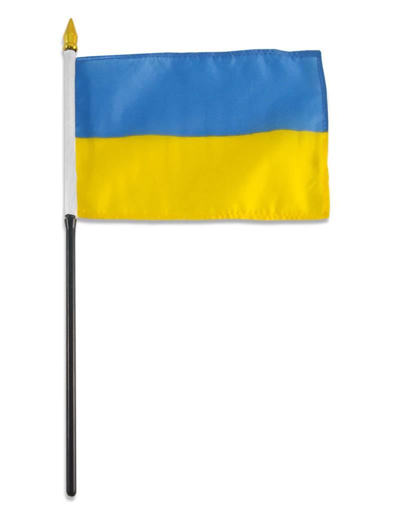 """Online Stores Stick Flag 4""""x6"""" - Ukraine"""