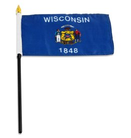 "Online Stores Stick Flag 4""x6"" - Wisconsin"