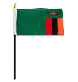 "Online Stores Stick Flag 4""x6"" - Zambia"