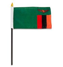 "Popcorn Tree Stick Flag 4""x6"" - Zambia"