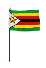 "Online Stores Stick Flag 4""x6"" - Zimbabwe"