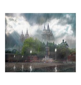 Brent Borup Metal Print - Salt Lake Temple, Rainy 10x8