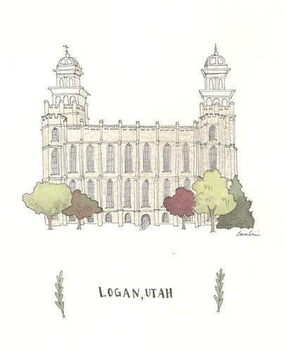 "Popcorn Tree Logan Temple Illustration 3""x4"""