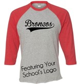#18 Vintage Jersey 3/4 Sleeve T-Shirt - Barrington 220 Schools