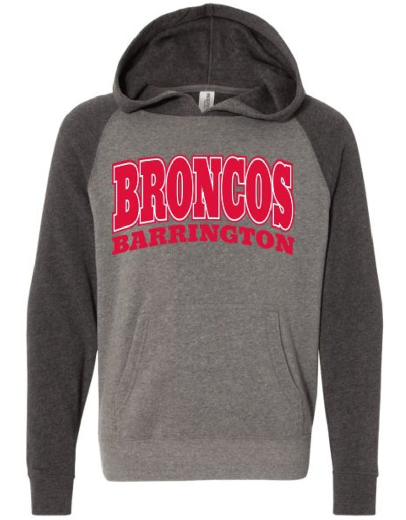 #106 Youth Raglan Hooded Sweatshirt - Barrington Broncos