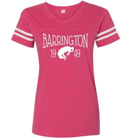 #331 Ladies V-Neck Vintage Football Tee - Barrington Broncos