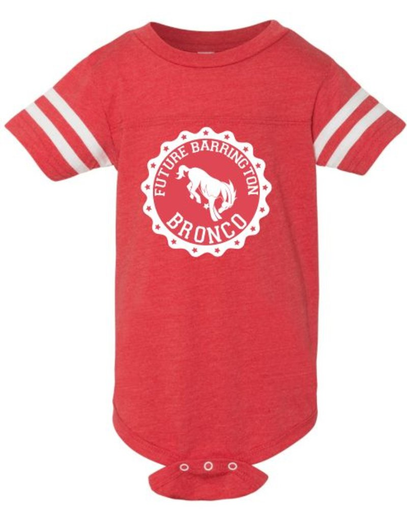 #631 Infant Vintage Football Onesie - Barrington Broncos