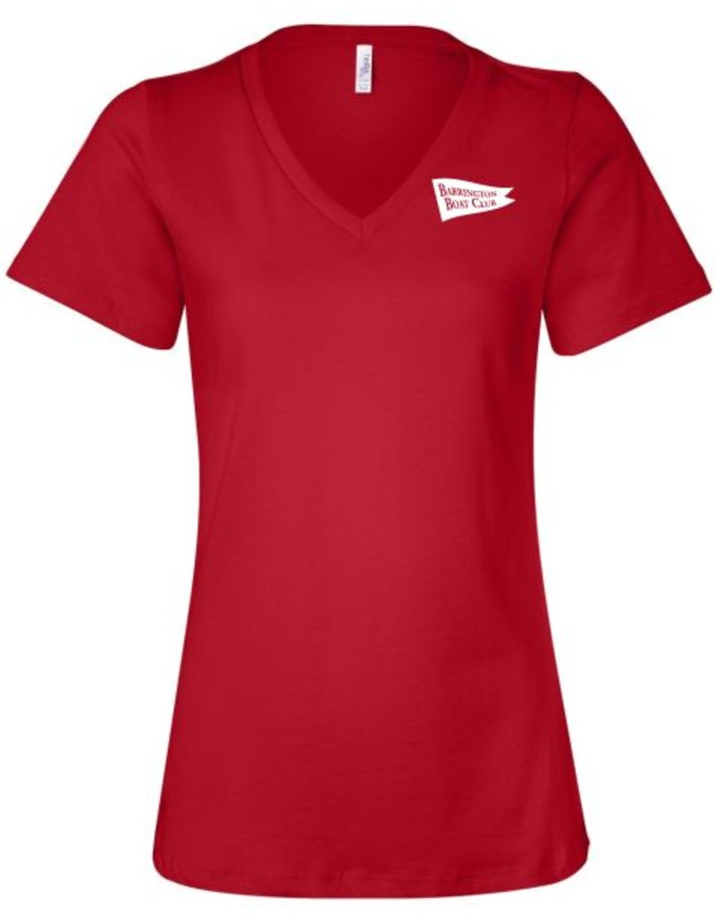 Bella + Canvas #6405 Ladies Relaxed Short Sleeve Jersey V-Neck - Barrington Boat Club
