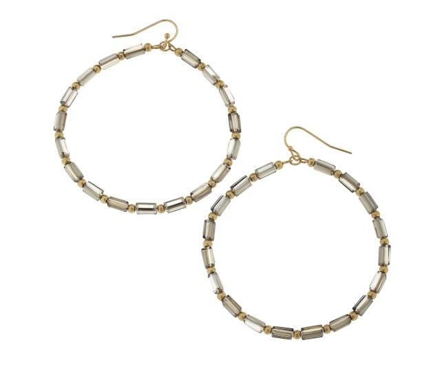 canvas jewelry glass bugle bead hoop earrings black