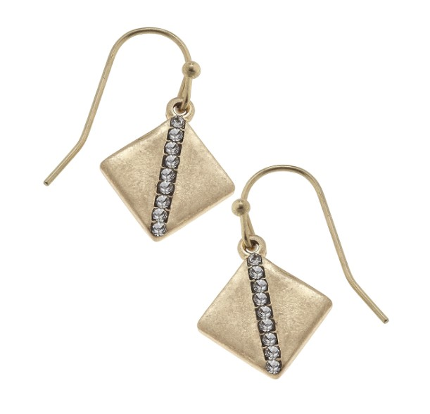 canvas jewelry square pave earring gold tones