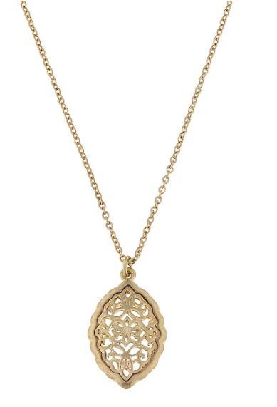 canvas jewelry marquis filigree pendant necklace