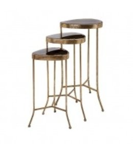 HARLOW BLACK MIRROR NESTING TABLES, SET OF 3