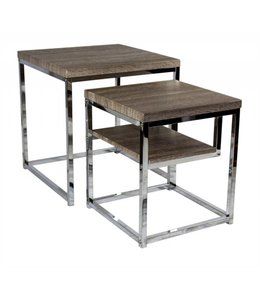 SAGEBROOK HOME Nesting Tables, Natural/Silver