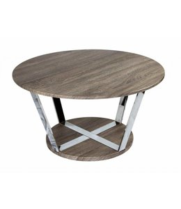 SAGEBROOK HOME Round Metal Cocktail Table, Natural / Silver