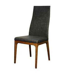 New Pacific Direct Riley PU Chair Walnut Legs, Antique Gray