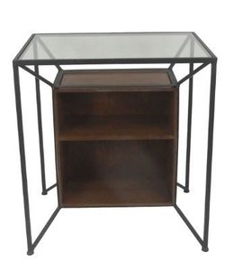 METAL & WOOD STORAGE ACCENT TABLE