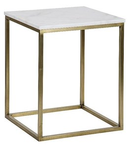 Manning Side Table, Large, Antique Brass, Metal and Quartz