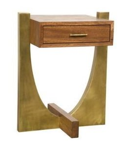 ROSSI SIDE TABLE WALNUT/GOLD FINISH