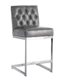CAVALLI COUNTER STOOL, NOBILITY GRAY LEATHER