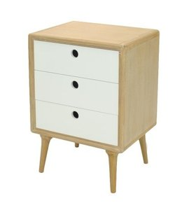 Madden End Table 3 Drawers, White/Natural