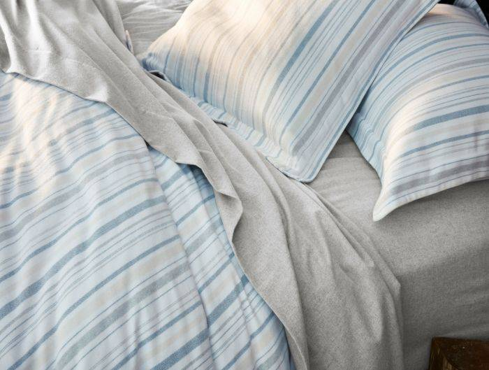 Cloud Brushed Flannel Duvet Cover- Heathered Stripe- King