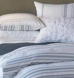 Geo Stripe Duvet Cover, FULL/QUEEN, White/Blue